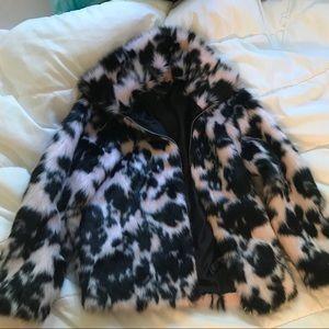 Pink and black faux fur TOPSHOP coat US 4